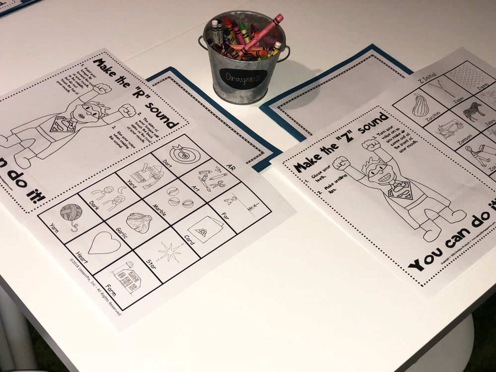 Pages from the speech therapy activity book.