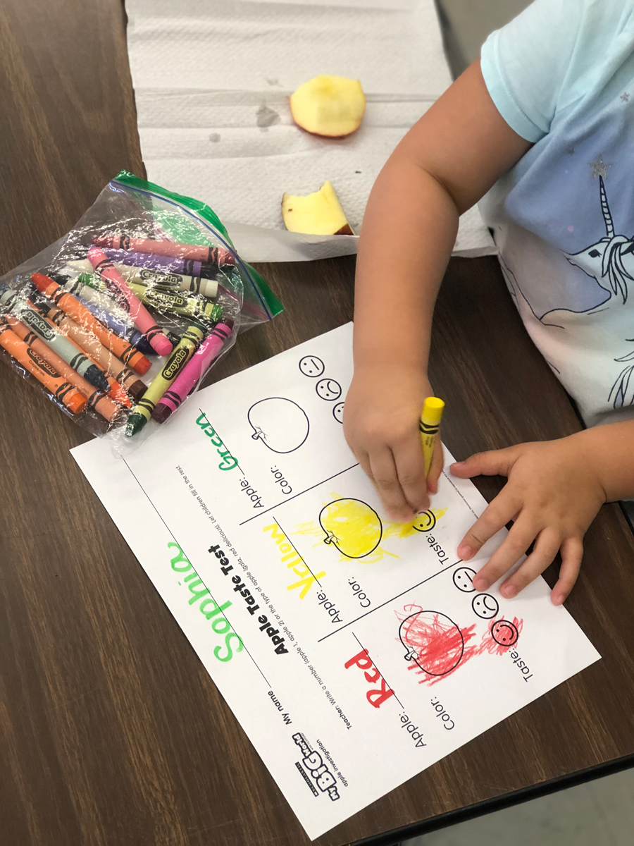 A child drawing on their speech activity sheet.