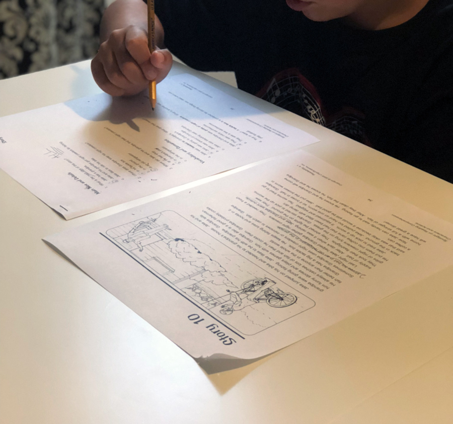 A child working on a speech therapy activity.