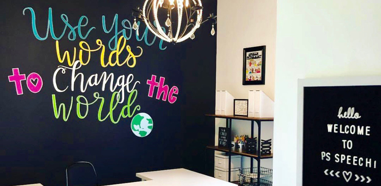 PS Speech chalk board that says: use your words to change the world.